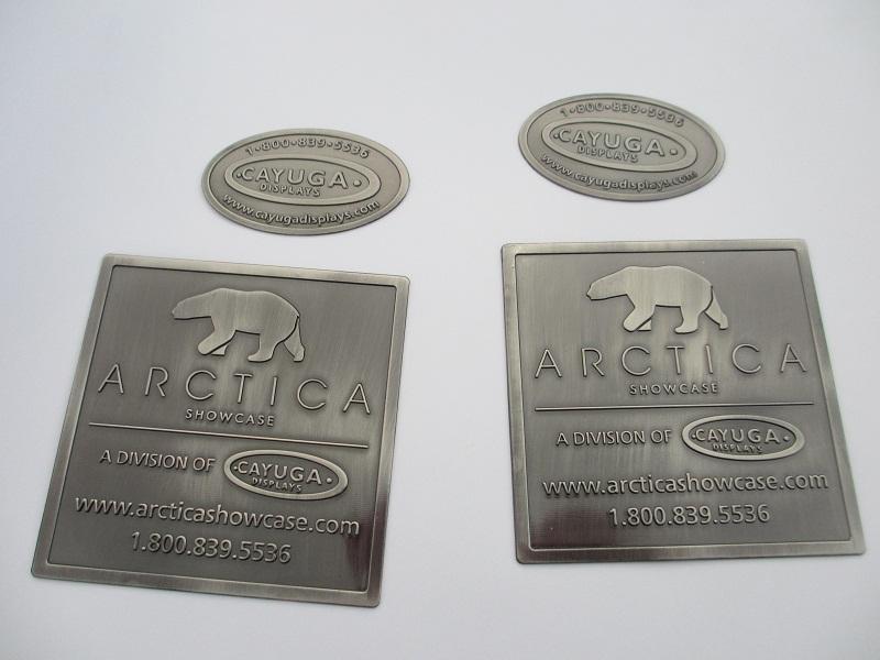 Furniture Label, Custom Antique Logo, Metal Embossed Nameplate, Oval Badge,  Old Silver